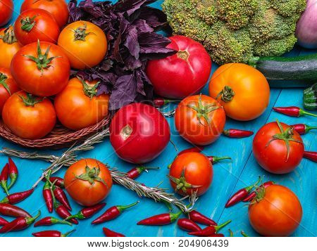Fresh vegetables. Colorful vegetables background. Healthy vegetable . Assortment of fresh vegetables close up.Healthy food .