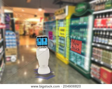 smart retail concept robot service use for check the data of or Stores that stock goods on shelves with easily-viewed barcode and prices or photo compared against an idealized representation of store