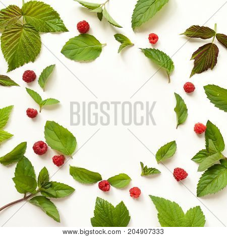 Composition With Fresh Mint Leaves And Red Raspberries