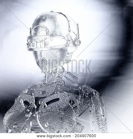 Digital 3D Illustration Of A Female Cyborg Relief