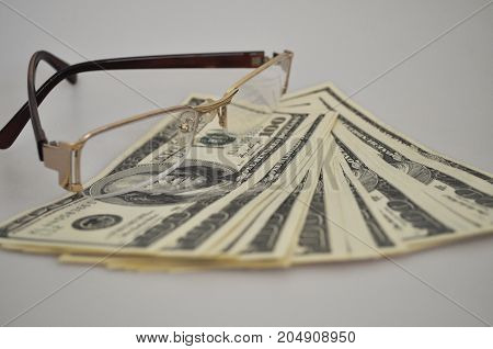 money, banknotes, dollars, one hundred, bank notes, bank, paper, pack, glasses, signs