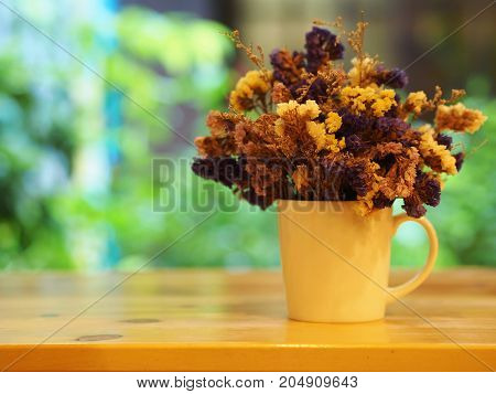 Dry Flower With A Cup , Vast , Pot. On The Wooden Table, Minimal Style