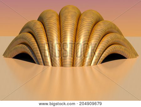 Extraordinary shell structure 3D illustration. Curved shape, textures, reflections, colors, gradient sky background. Collection.