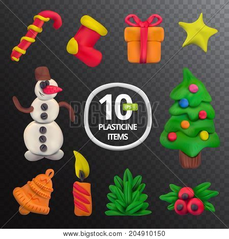 Handmade vector Plasticine Christmas set. Vector illustration of candy sock gift star snowman Christmas tree bell candle fir branch and holy isolated on transparent background