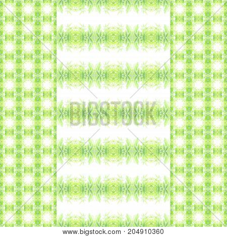 Abstract seamless pattern of striped green leaves with chequered borders on left and right, square shape. Useful for background, backdrop, frame, wallpaper.