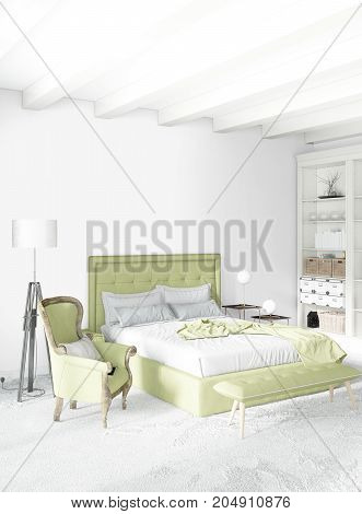 White Bedroom Minimal Style Interior Design With Wood Wall And Grey Sofa. 3D Rendering. 3D Illustrat