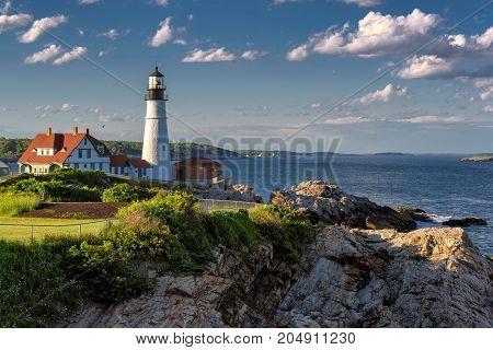 The Portland Head Lighthouse, Maine, USA. Photographed at sunset.