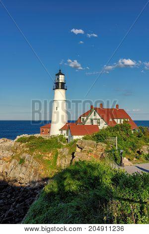 The Portland Head Lighthouse at sunset, Maine, USA.
