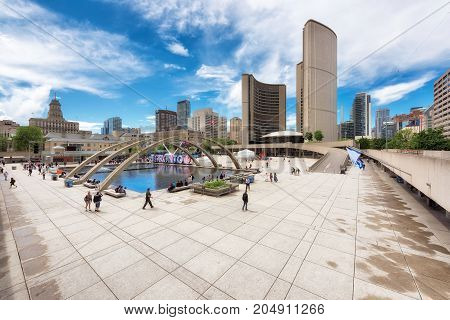 Nathan Phillips Square and the new City Hall on June 27, 2017 in Toronto, Canada.