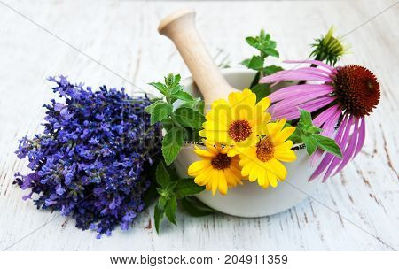 Medical Flowers In Mortar