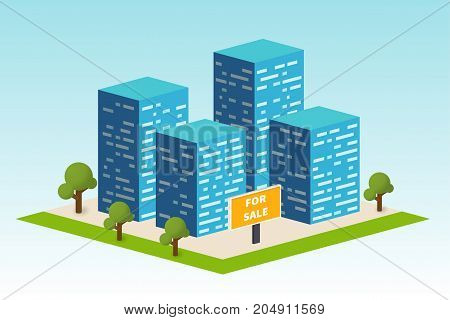 Real estate building. Construction company advertising. Urban living district on the map. Vector illustration