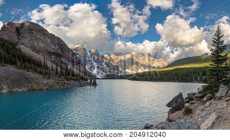 Moraine lake panorama at sunrise in Banff National Park, Alberta, Canada