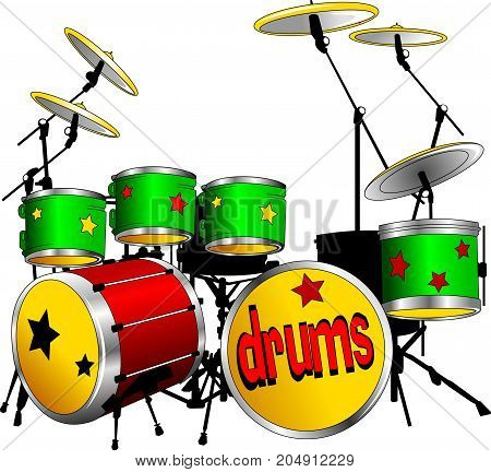 Drum kit isolated on white background vector and illustration
