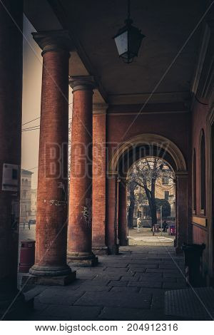 Old Colonnade On The Street In Parma