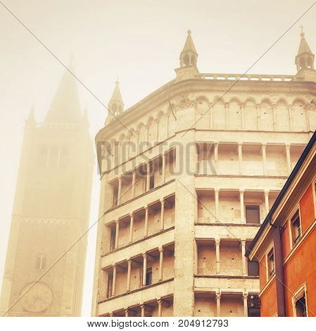 Baptistery And Duomo Tower In Parma