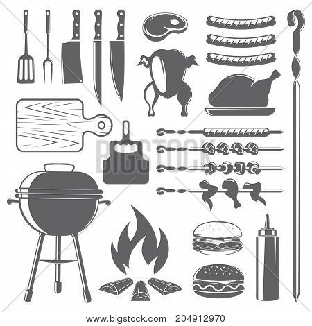 vector set of barbecue, meat and grill accessories, on white background, for advertising and menu desig