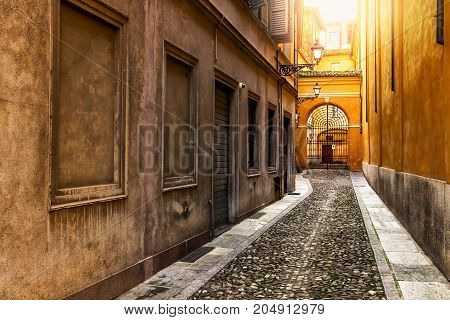 Old narrow colorful street in Italy. Architecture