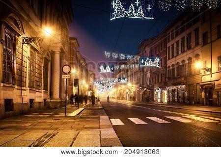 Night Avenue Street In Parma