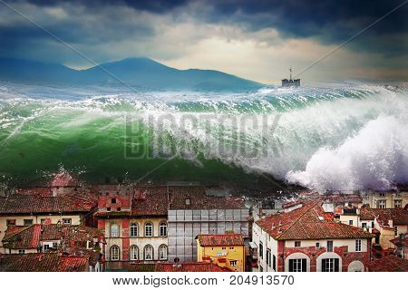Giant wave crashing above the city. Global flood.