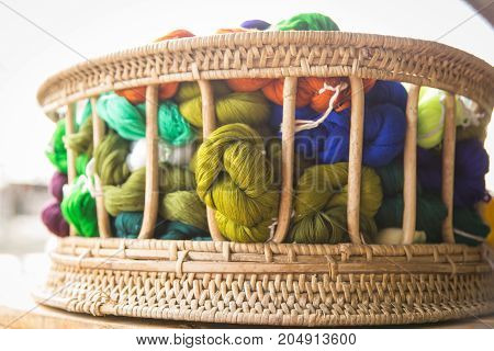 various colors of cotton yarns - stock image