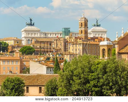 View of roofs and cityscape of Rome, Italy