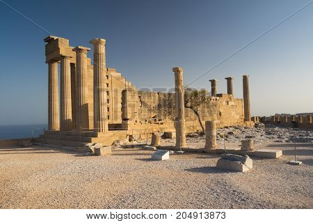 Acropolis of Lindos ancient temple in Greek island Rhodos