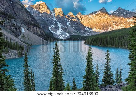 Sunrise at Moraine lake with in the valley of ten peaks in Banff National Park, Canadian Rockies, Alberta, Canada.
