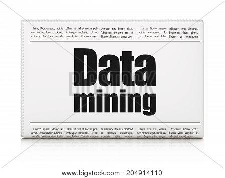 Data concept: newspaper headline Data Mining on White background, 3D rendering