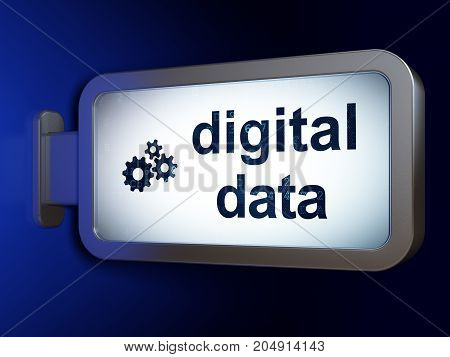 Information concept: Digital Data and Gears on advertising billboard background, 3D rendering