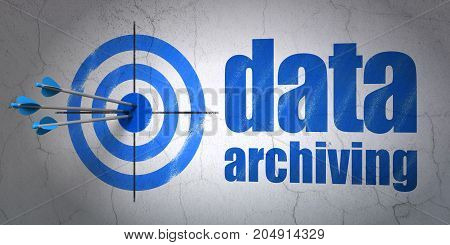Success Data concept: arrows hitting the center of target, Blue Data Archiving on wall background, 3D rendering