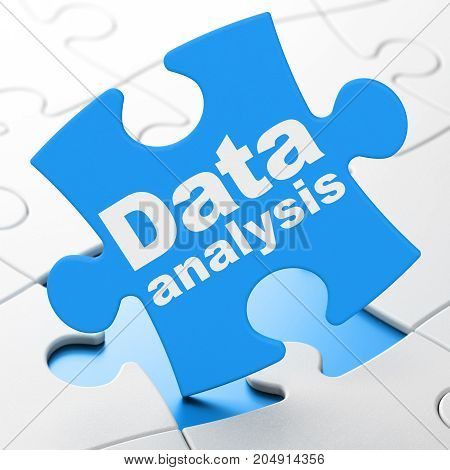 Data concept: Data Analysis on Blue puzzle pieces background, 3D rendering
