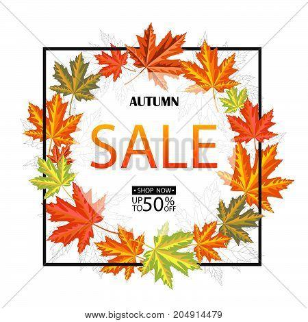Autumn sale. Fall season sale and discounts banner. Vector illustration.