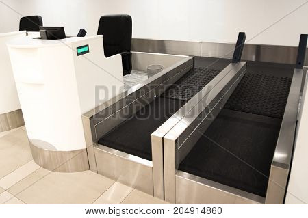 Baggage weight check in counter at airport
