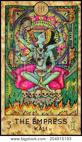 Empress. Kali Hindu Goddess. Fantasy Creatures Tarot full deck. Major arcana. Hand drawn graphic illustration, engraved colorful painting with occult symbols