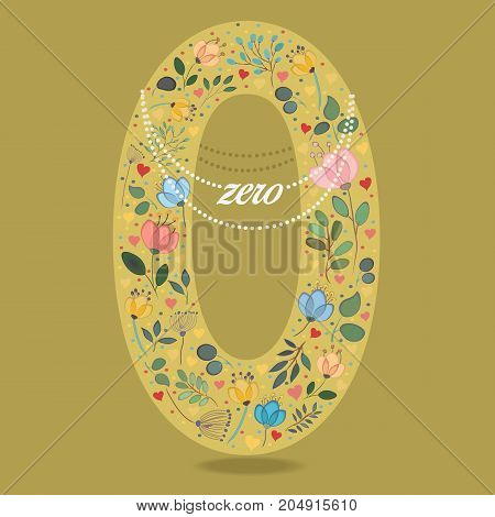 Yellow Number Zero with Folk Floral Decor. Colorful watercolor flowers and plants. Small hearts. Graceful pearl necklace with text. Illustration