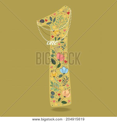 Yellow Number One with Folk Floral Decor. Colorful watercolor flowers and plants. Small hearts. Graceful pearl necklace with text. Illustration