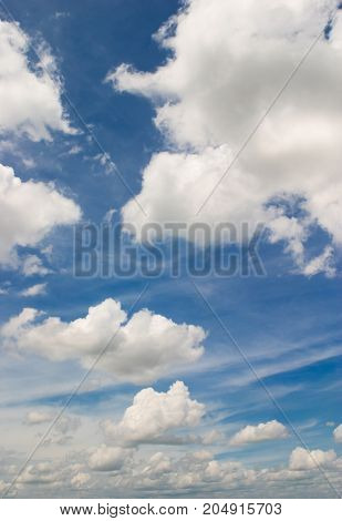 White cloudy on blue sky - stock image