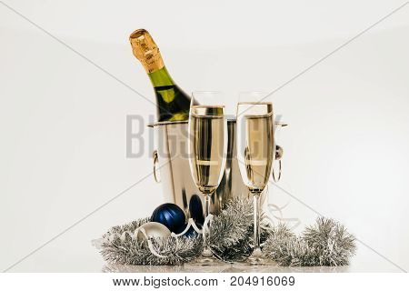 Bottle Of Champagne And Wineglasses