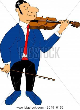 Elegant violinist in a blue tuxedo with a violin in his hands vector