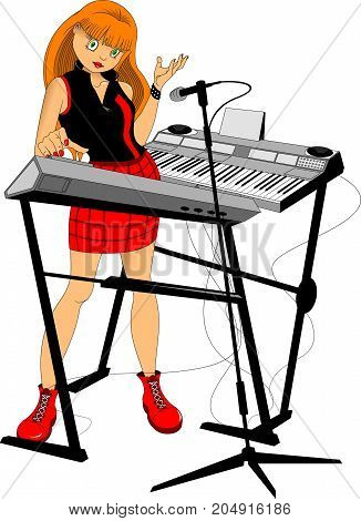 Young woman playing on synthesizer. Female musician keyboardist. Vector