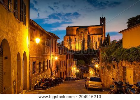 Night Old Street In Medieval Siena