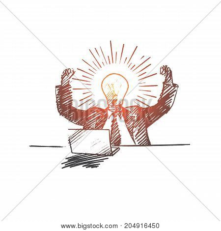 Vector hand drawn The best idea concept sketch. Bisinessman sitting at desk with laptop and rejoicing at great idea in his mind