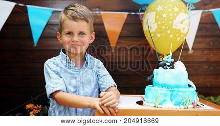 Picture of young pretty boy at birthday party