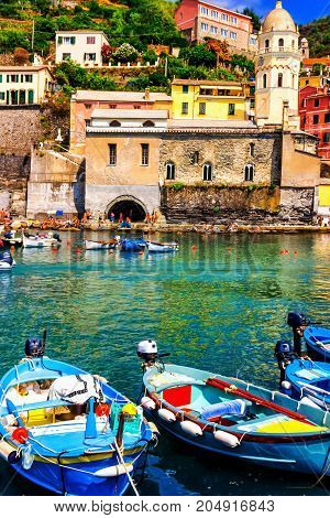 Vernazza Village With Many Tourists, Cinque Terre, Italy