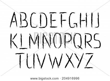 Vector Font. Brush strokes thin type. Grunge ABC. Painted letters design