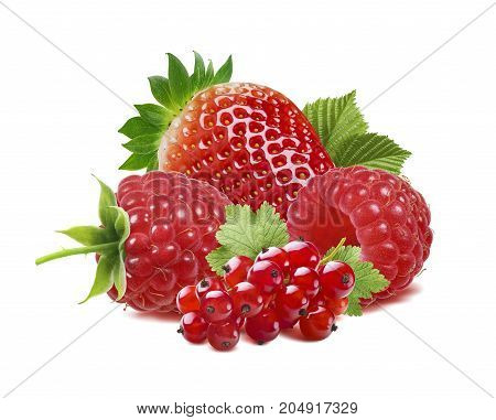 Red berries currant raspberry strawberry isolated on white background