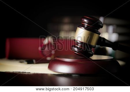 Law Gavel In Courtroom. Legal System.