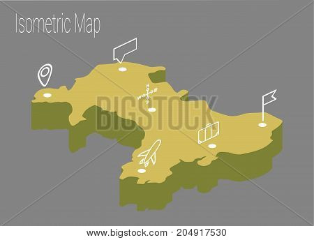 Map Wales isometric concept. 3d flat illustration of Map Wales.