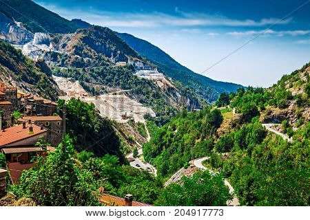 Rocky mountains with marble quarries the Apennine mountains Tuscana province near Carrara Italy.