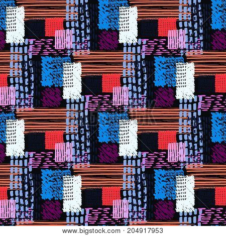 Memphis seamless  pattern in retro style. Doodle pattern hand-drawn pen, ink, chalk.  Fabric patchwork.